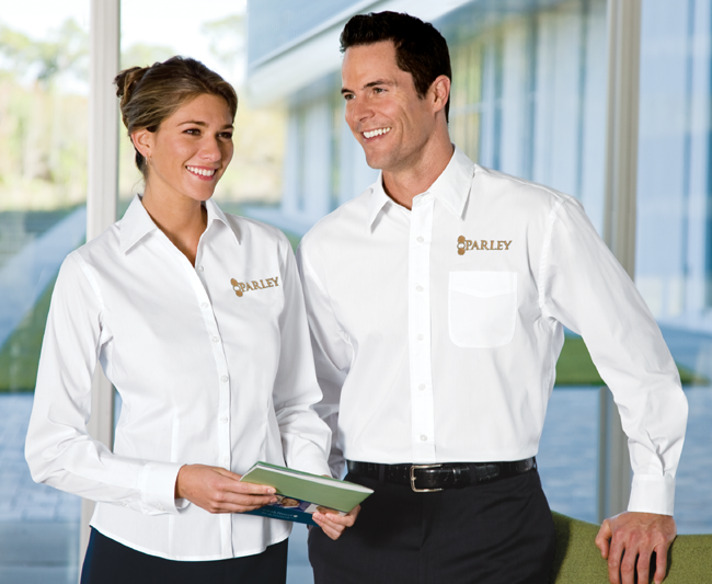 Casual corporate uniform options all uniform gazette for Employee shirts embroidered logo